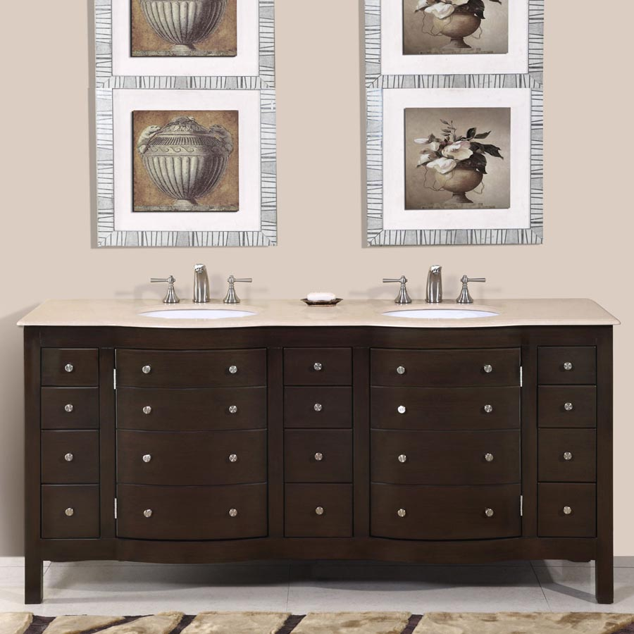 "72"" Double Sink Cabinet - Crema Marfil Top, Undermount White Ceramic Sinks (3-hole)"