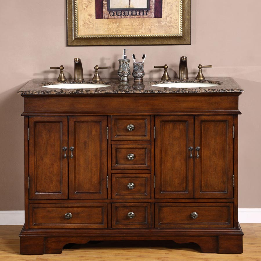 """48"""" Double Sink Cabinet - Undermount Ivory Ceramic Sinks with Counter Top Options"""