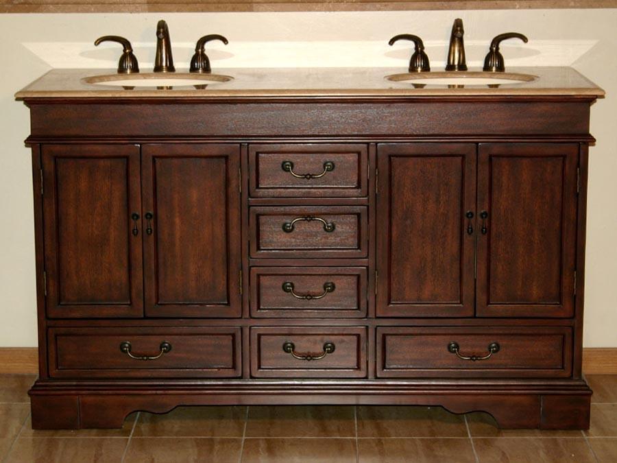 "60"" Double Sink Cabinet - Travertine Top, Undermount Ivory Ceramic Sinks (3-hole)"