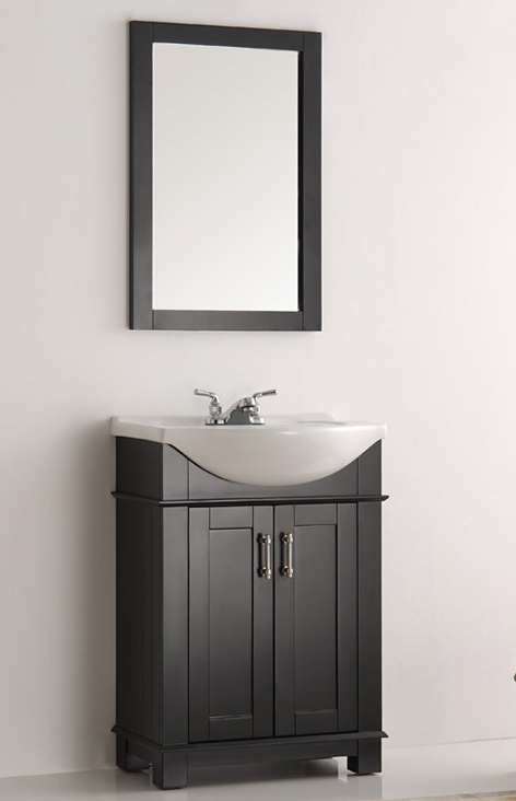 24 inch Black Finish Transitional Bathroom Vanity