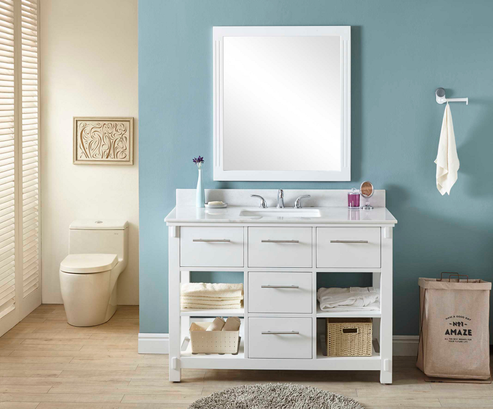 """48"""" Single Sink Bathroom Vanity in White Finish with Arctic Pearl Quartz Marble Top - No Faucet"""