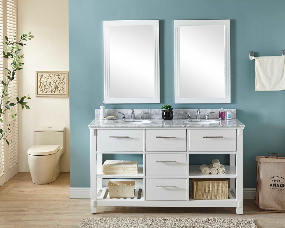 "60"" Double Sink Bathroom Vanity in White Finish with Carrara White Marble Top - No Faucet"