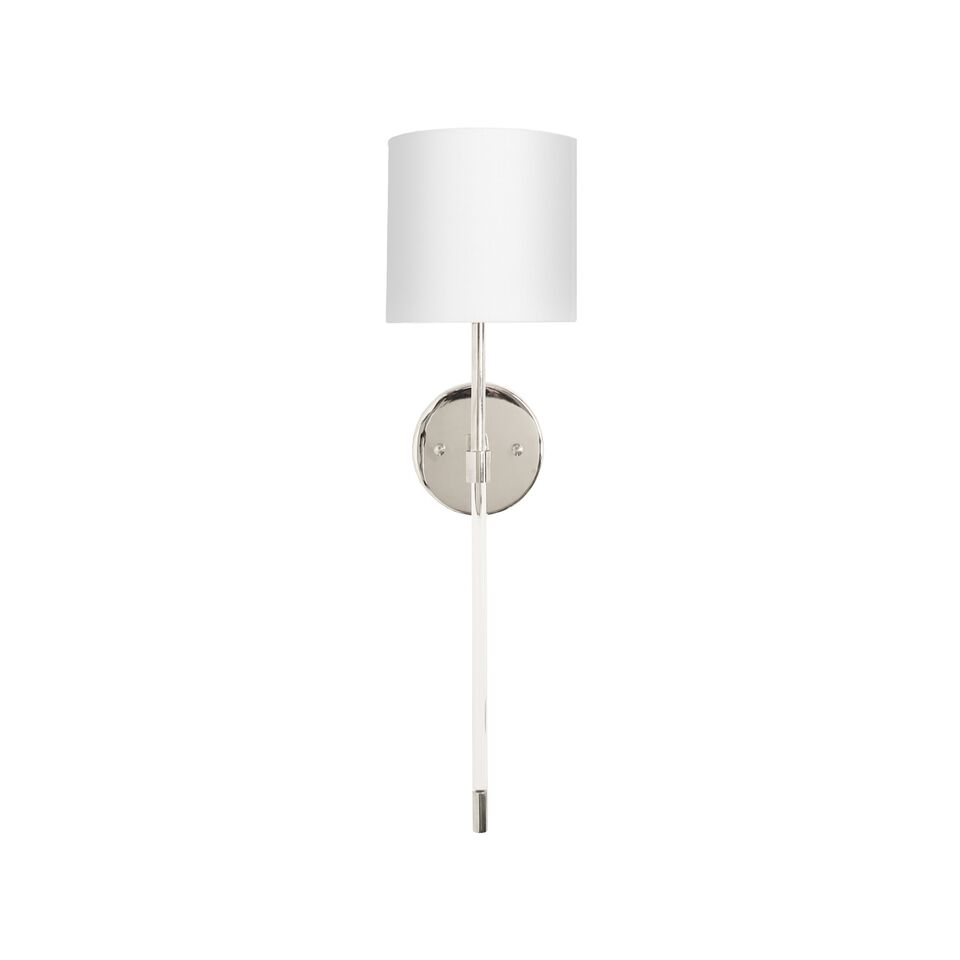 Acrylic Sconce with White Linen Shade in 3 Finish Option