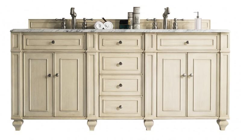 72 inch Double Sink Bathroom Vanity Vintage Vanilla Finish
