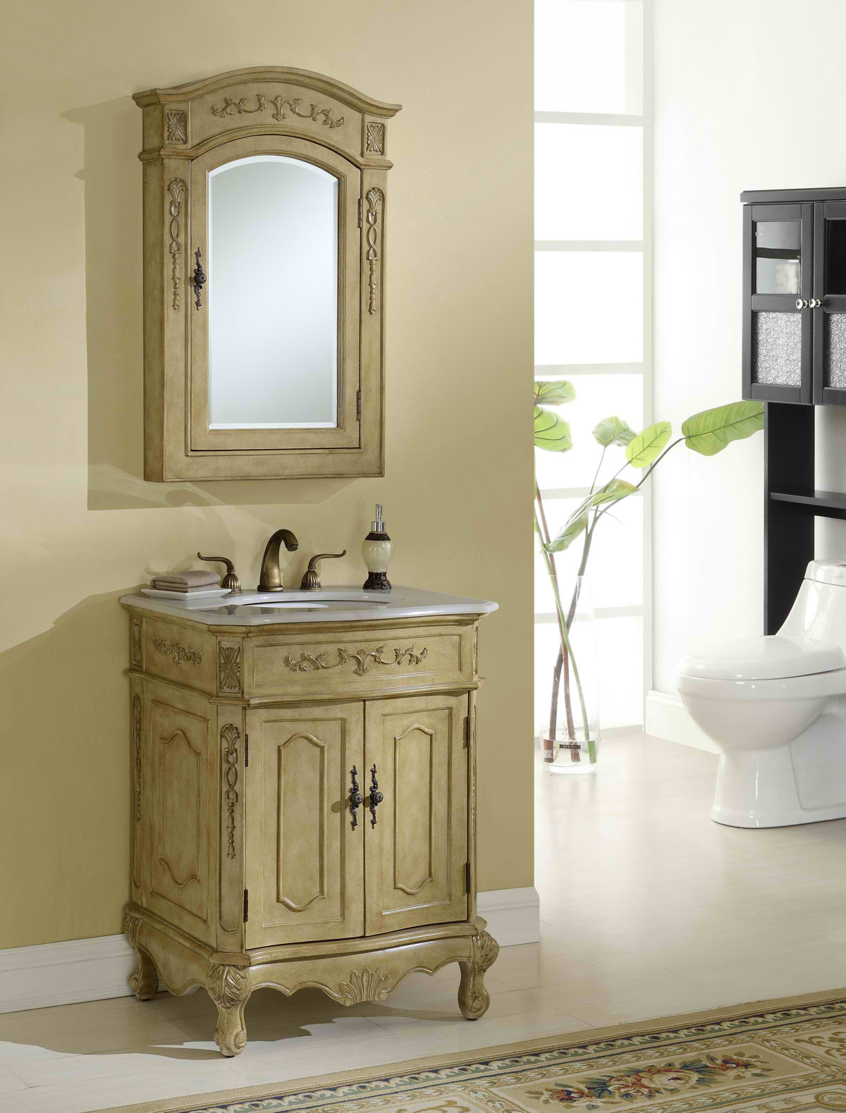 """27"""" Antique Tan Finish Vanity with Mirror, Med Cab, and Linen Cabinet Options"""