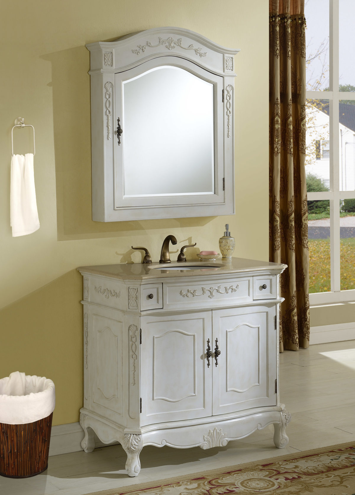 """36"""" Antique White Finish Vanity with Mirror, Med Cab, and Linen Cabinet Options"""