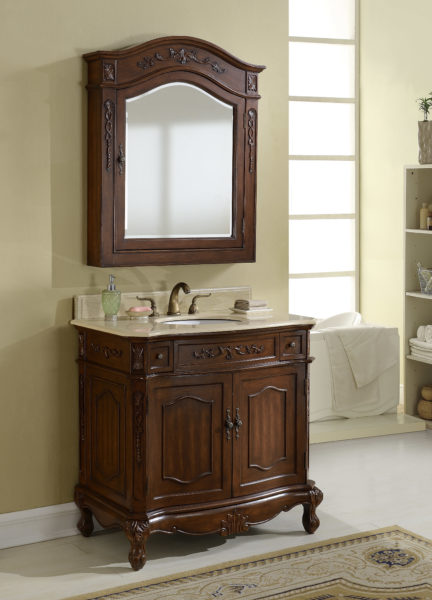 """36"""" Antique Chestnut Finish Vanity with Mirror, Med Cab, and Linen Cabinet Options"""