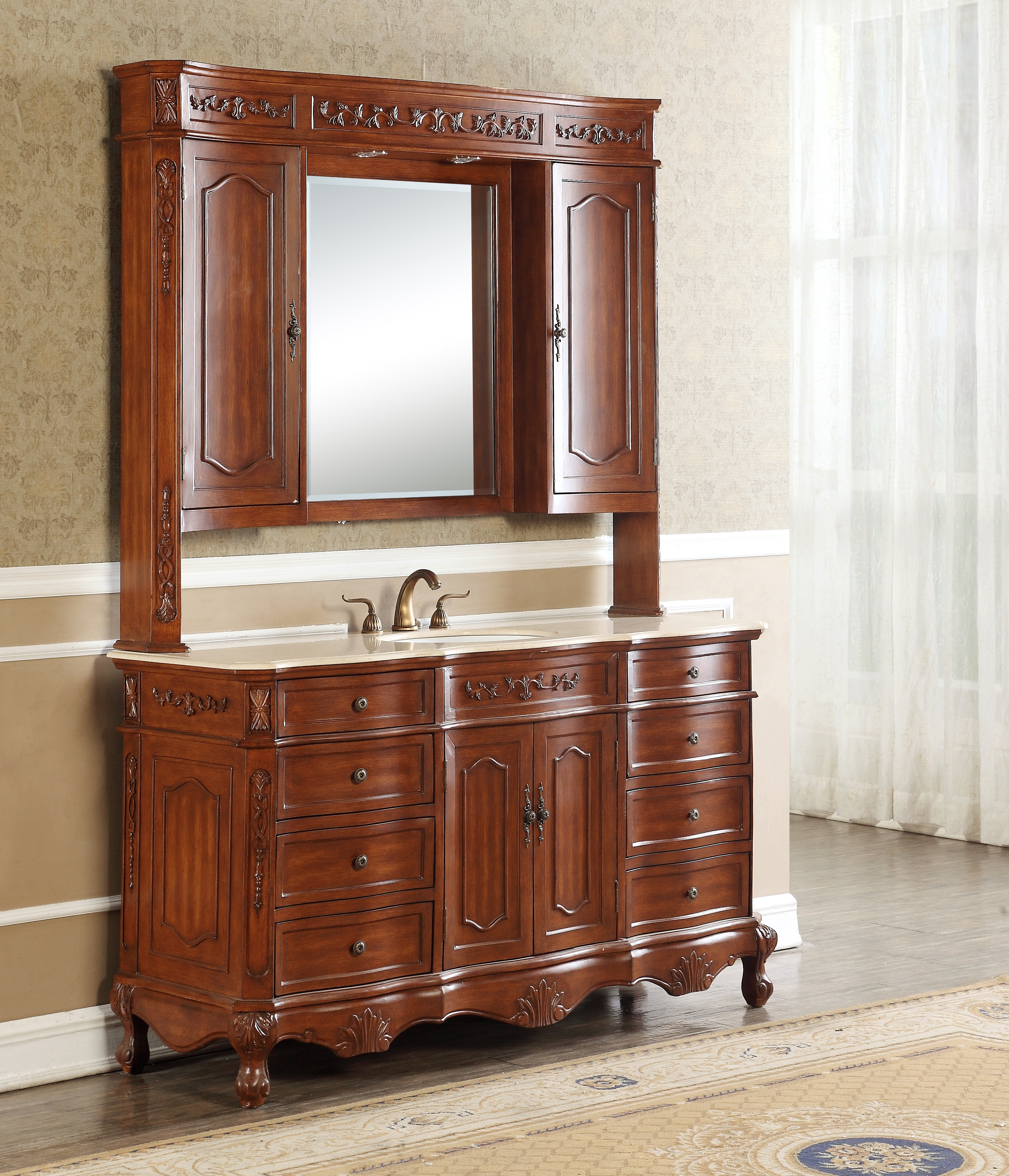 """60"""" Antique Deep Chestnut Single with Cream Marble Top, Matching Medicine Cabinet"""