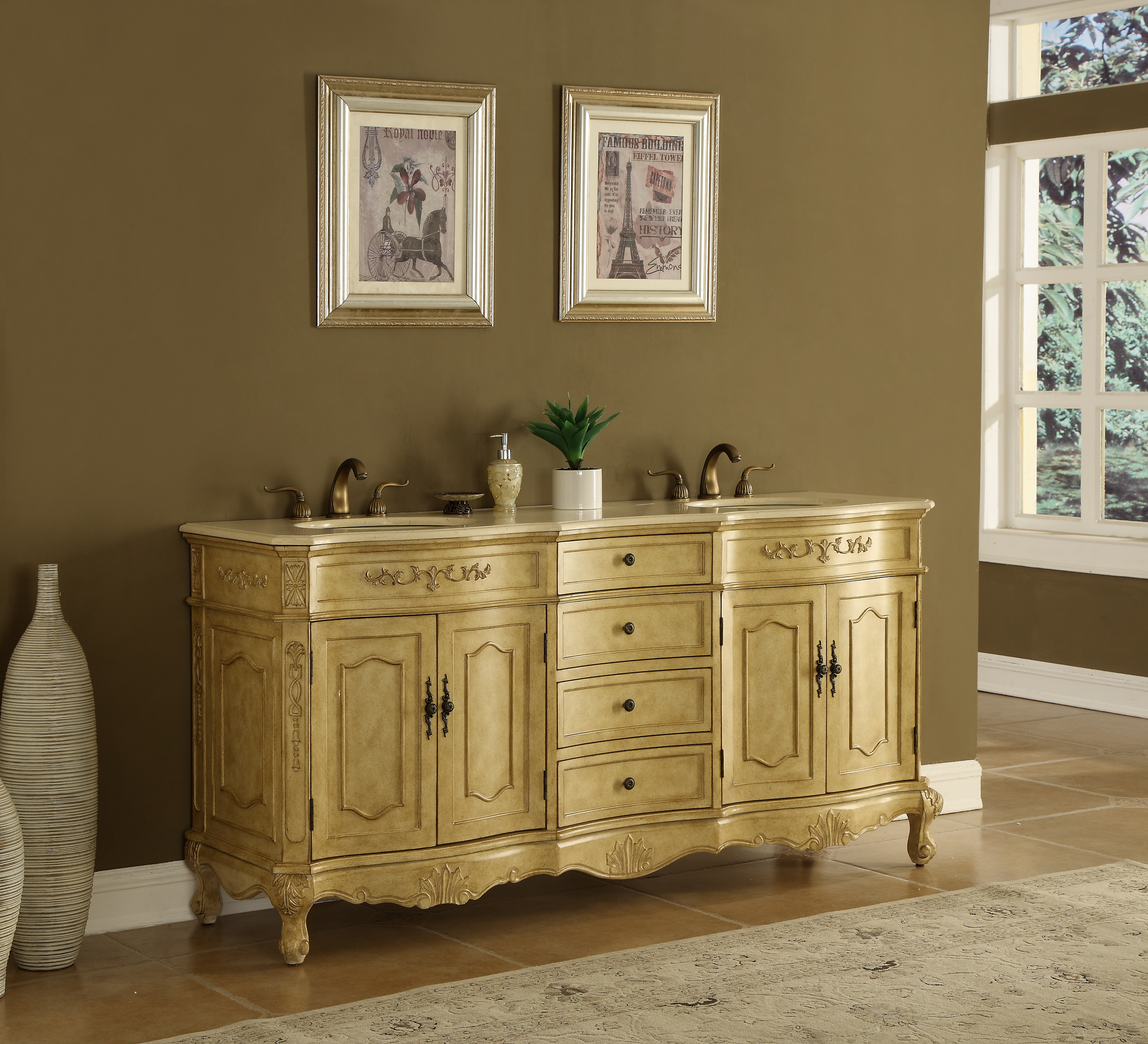 """72"""" Antique Tan Finish Vanity with Mirror, Med Cab, and Linen Cabinet Options"""