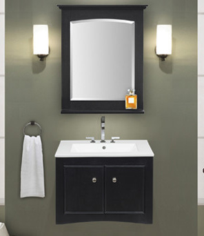 "24"" Wall Mounted Bathroom Vanity Brown Ebony Finish"