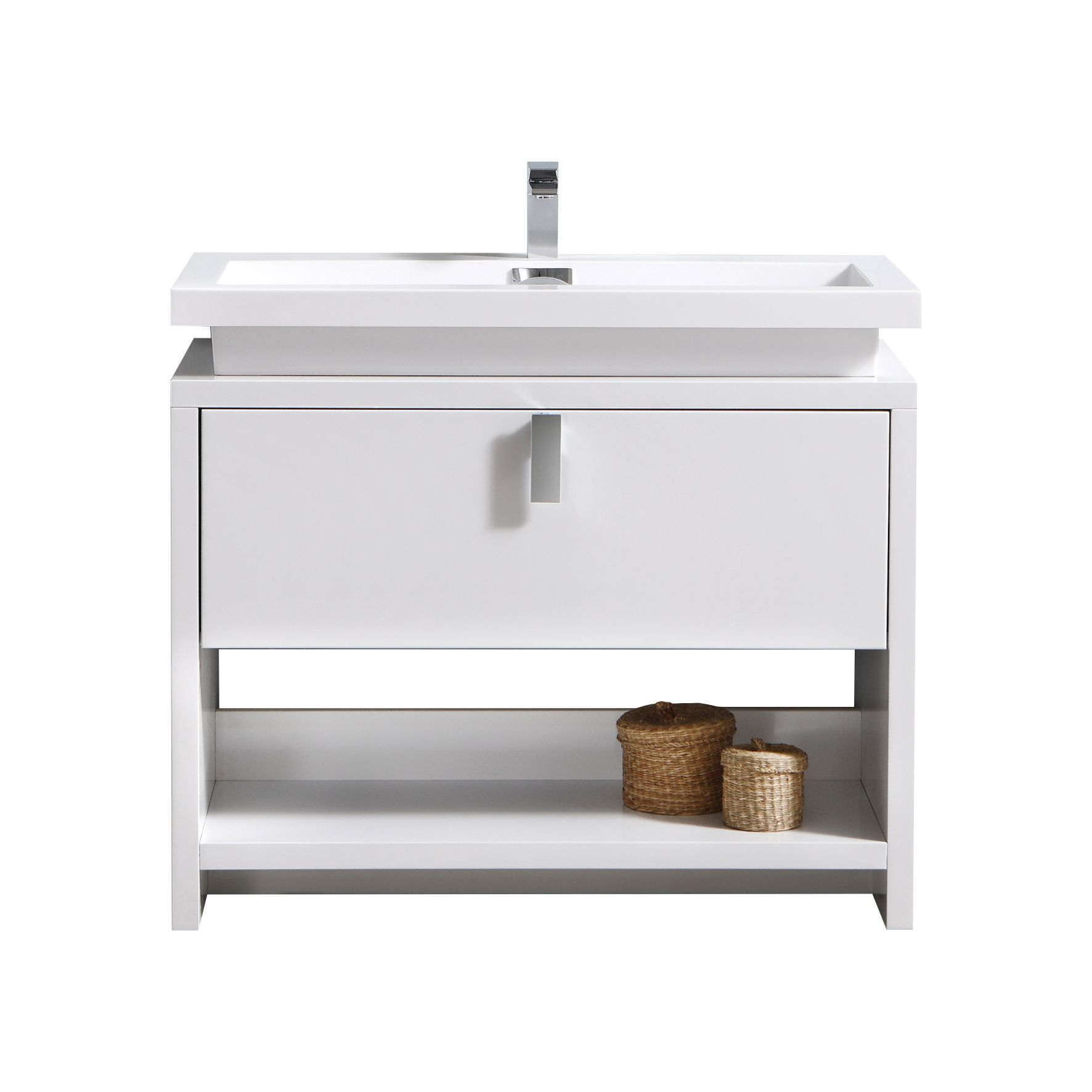 "Modern Lux 40"" High Modern Bathroom Vanity w/ Cubby Hole and Color Option"
