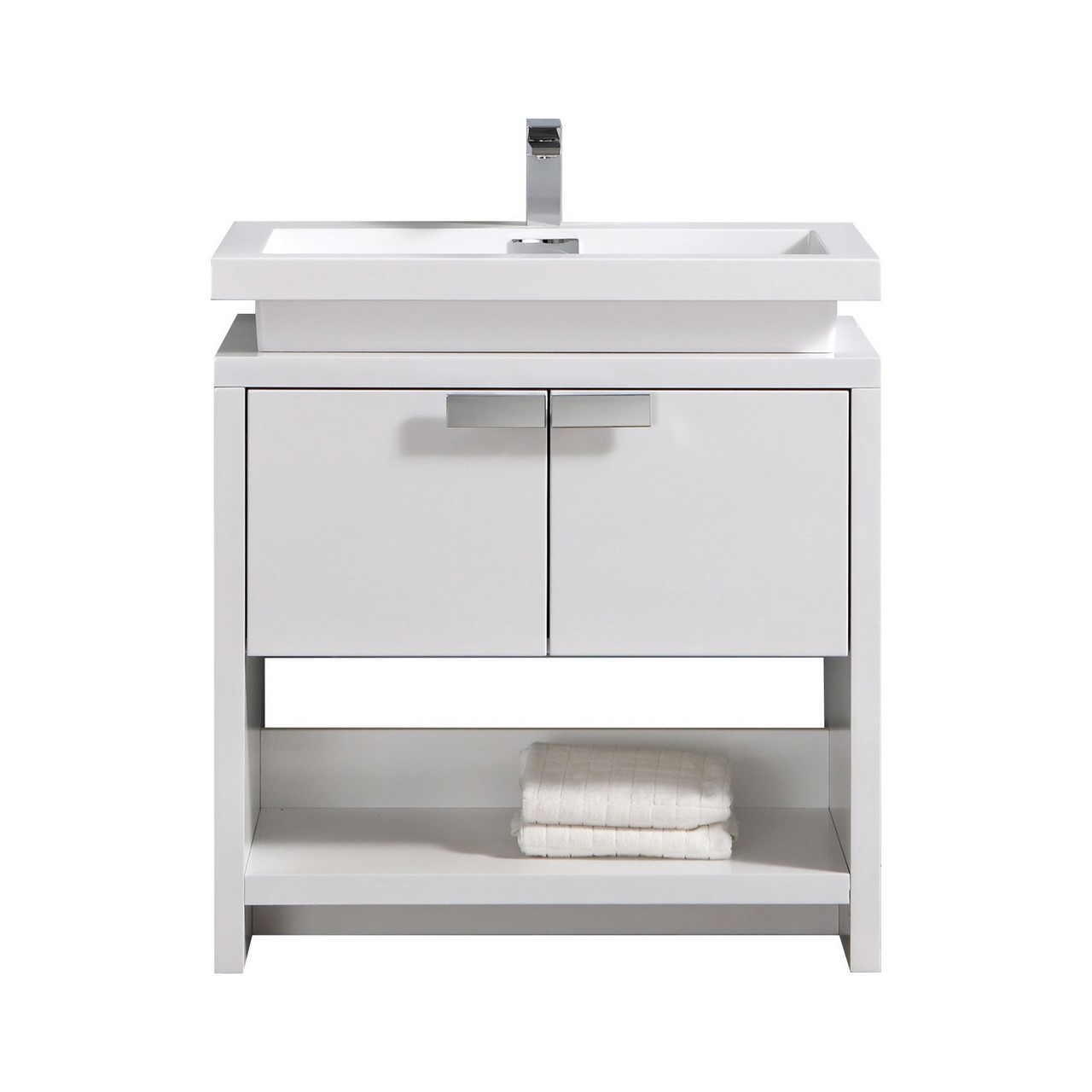 "Modern Lux 32""High Modern Bathroom Vanity w/ Cubby Hole and Color Option"