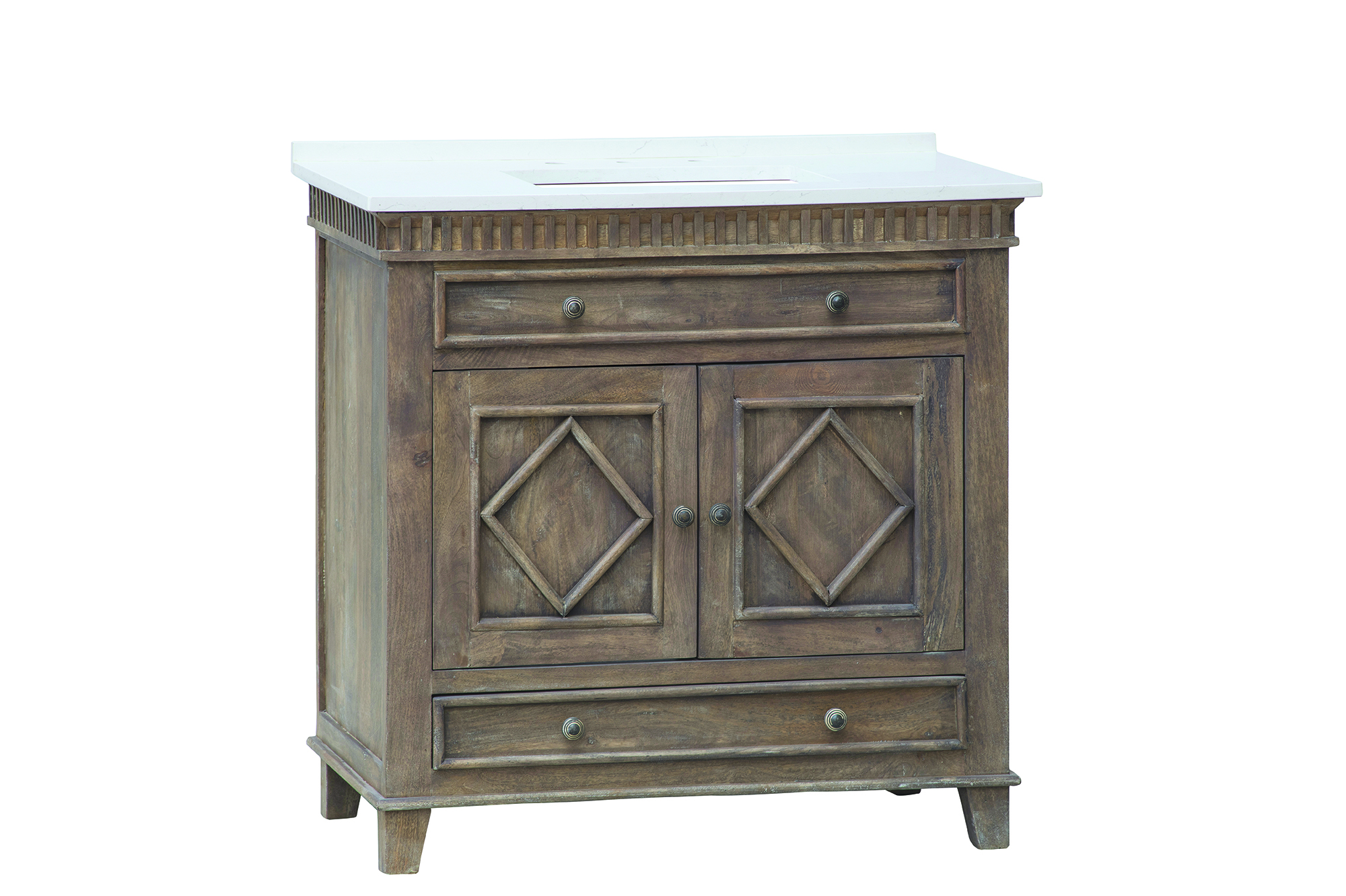 """Lancaster 36"""" Single Sink White with Grey Veining Top with Rustic Wood Finish"""