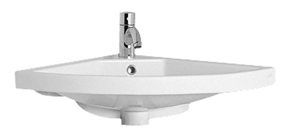 Isabella Collection Corner Wall Mount Basin with Chrome Overflow