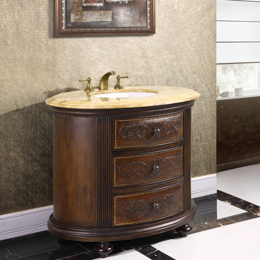 Decorative vanity cabinet crestwood 36 inch marble top for Bathroom chest