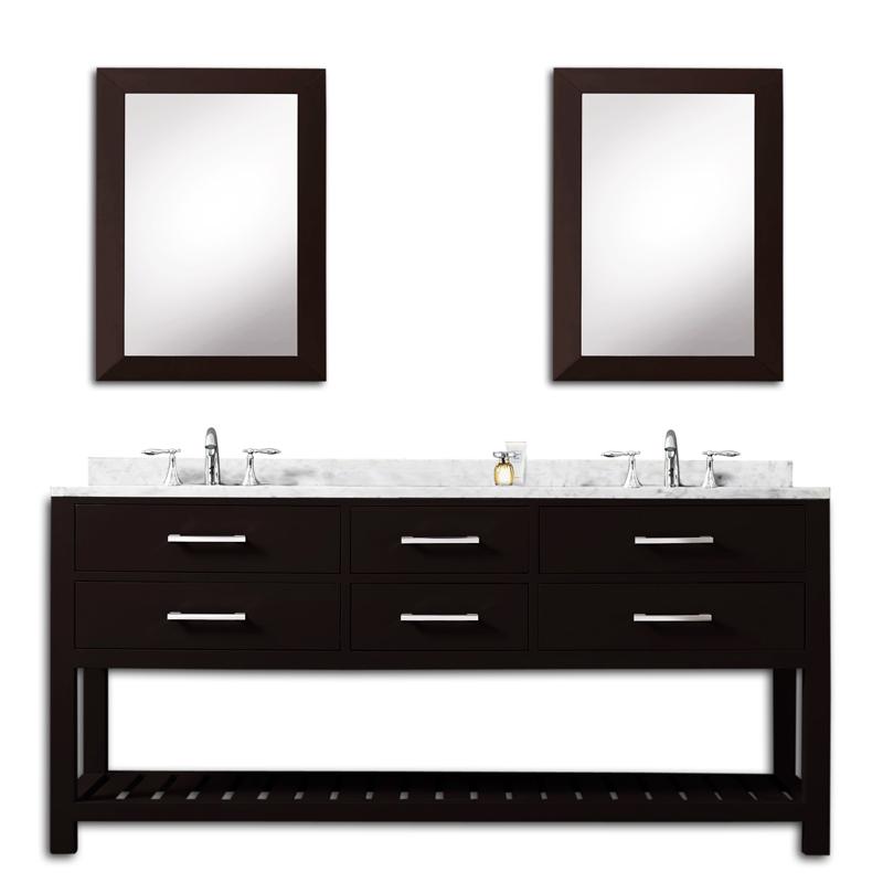72 inch Espresso Double Sink Bathroom Vanity Two Mirrors