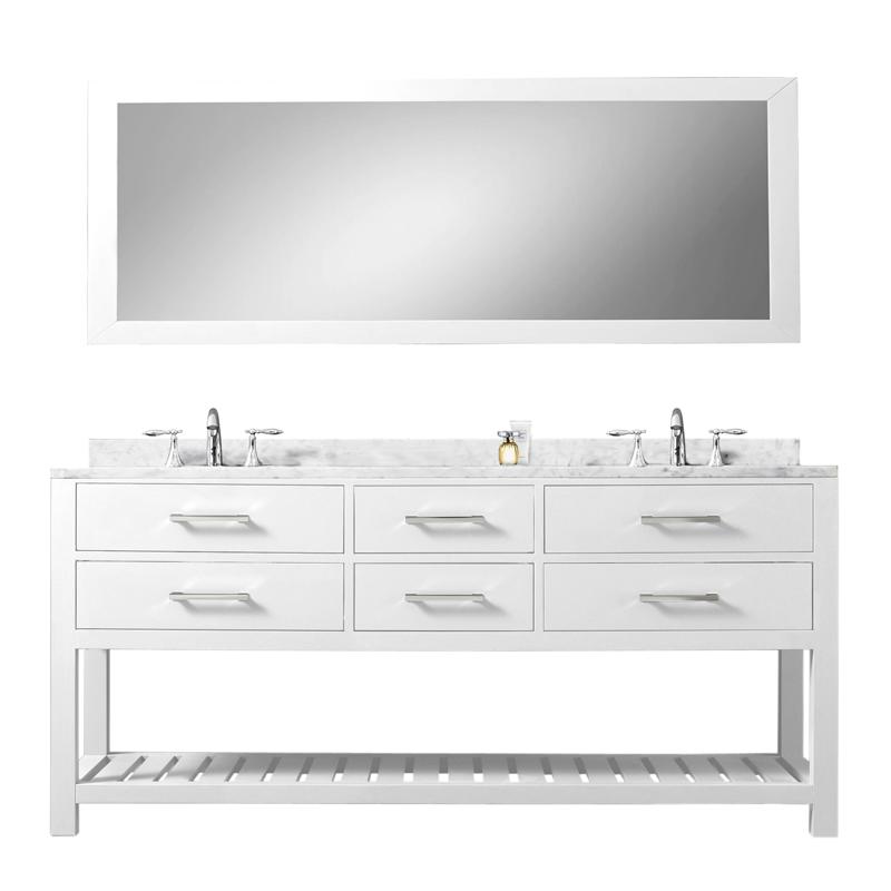 72 inch White Double Sink Bathroom Vanity One Mirror