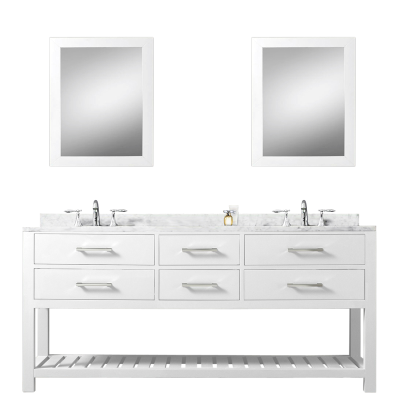 72 inch White Double Sink Bathroom Vanity Two Mirrors