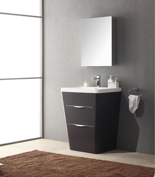 25 inch  Modern Bathroom Vanity Chestnut Finish