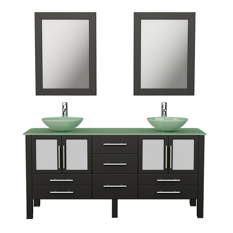 """63"""" Solid Wood & Glass Double Vessel Sink Vanity Set with Polished Chrome Faucets"""