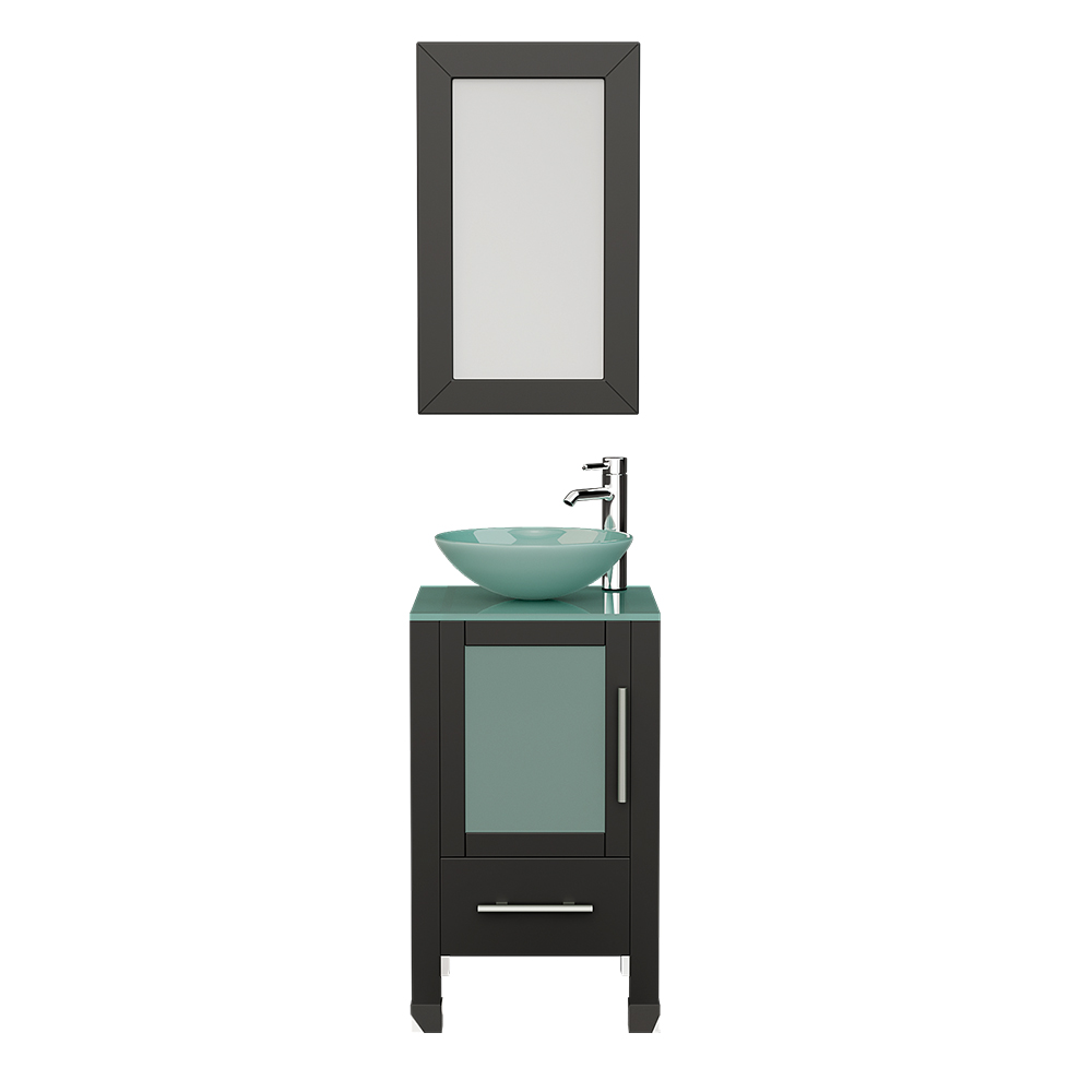 """18"""" Solid Wood Cabinet & Tempered Glass Counter Top and Single Round Tempered Glass Vessel Sink with Polished Chrome Faucets"""