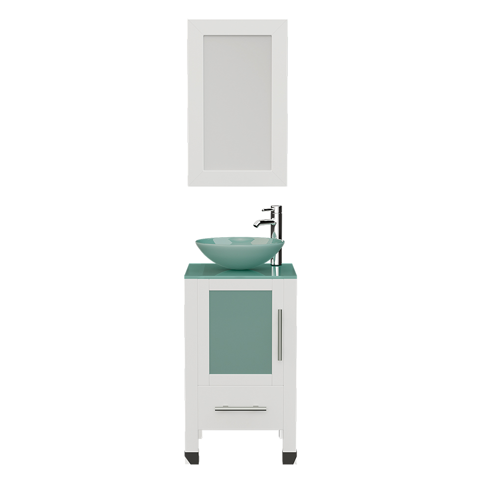 """18"""" White Solid Wood Cabinet & Tempered Glass Counter Top and Single Round Tempered Glass Vessel Sink with Polished Chrome Faucets"""