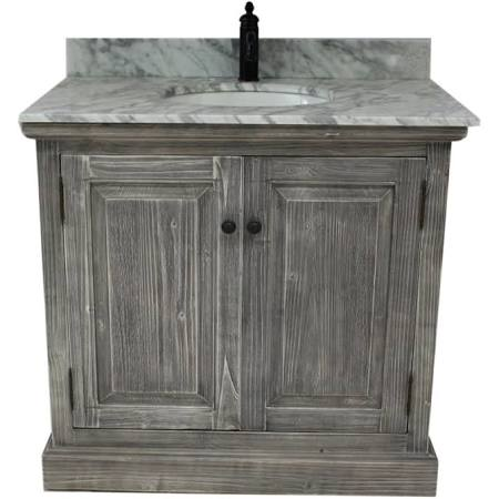 36 inch Grey Rustic Single Sink Bathroom Vanity Marble Top