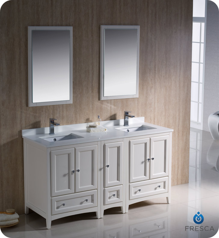 Fresca oxford collection 60 antique white traditional for Antique white double sink bathroom vanities