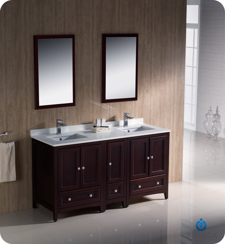 Fresca Oxford Collection 60 Mahogany Traditional Double Sink Bathroom Vanity With Top Faucet And Linen Cabinet