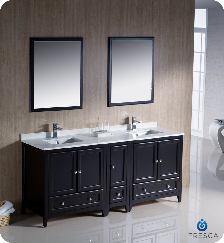 """72"""" Espresso Traditional Double Bathroom Vanity with Top, Sink, Faucet and Linen Cabinet Option"""