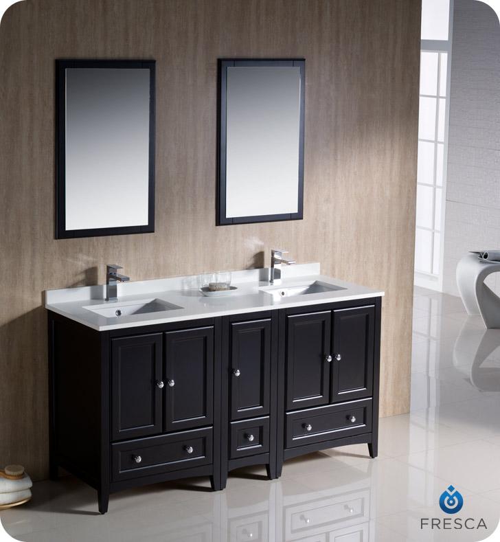 Paris 60-Inch Espresso Double-Sink Bathroom Vanity With Mirrors double vanities