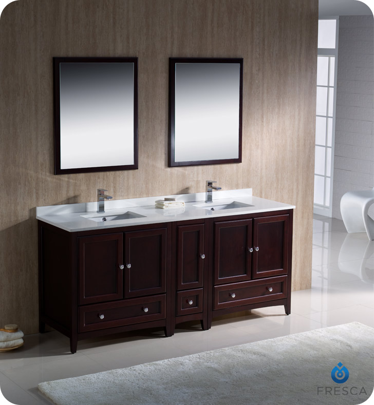 """72"""" Mahogany Traditional Double Bathroom Vanity with Top, Sink, Faucet and Linen Cabinet Option"""