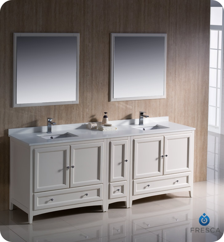 "Fresca Oxford Collection 84"" Antique White Traditional Double Sink Bathroom Vanity with Top, Sink, Faucet and Linen Cabinet Option"