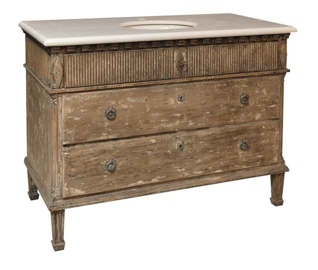 Single Vanity Antiqued Painted Base with White Marble Top