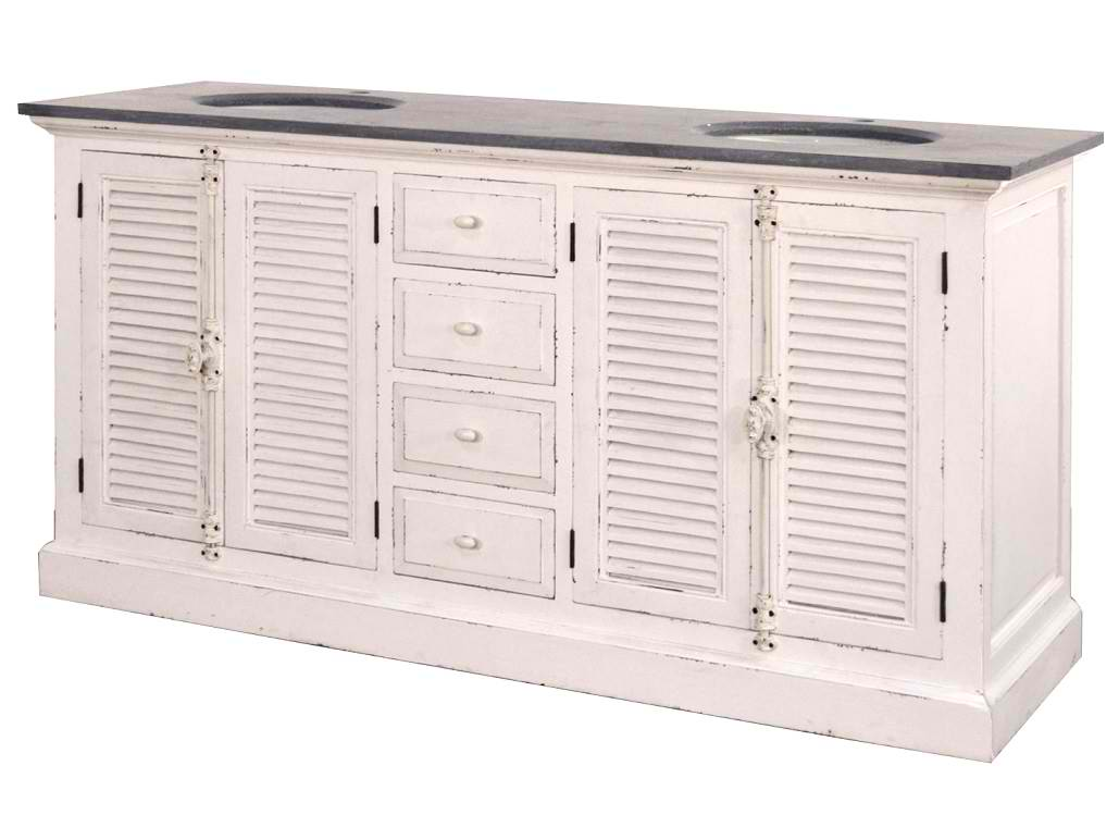 """71"""" Reclaimed Pine Double Shutter Vaniy with Blue Stone Top Distressed Paint Finish"""