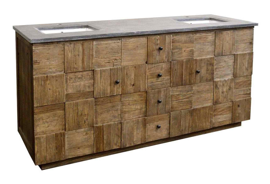 "73"" Reclaimed Elm Block Double Rectangular Sink with Blue Stone Top Natural Finish"