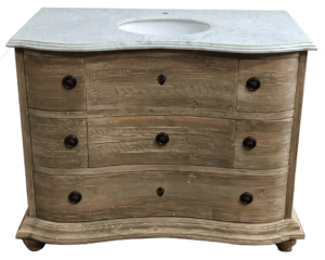 Reclaimed Pine Six Drawer Serpentine Single with White Marble Top Wash Finish