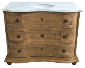 """48"""" Reclaimed Pine Six Drawer Serpentine Single with White Marble Top Natural Finish"""