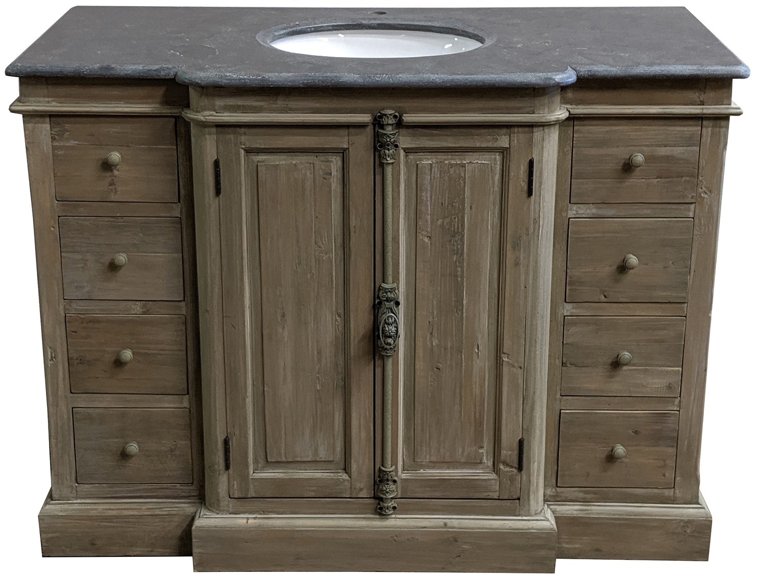 """48"""" Reclaimed Pine Single Vanity with Blue Stone Top Wash Finish"""