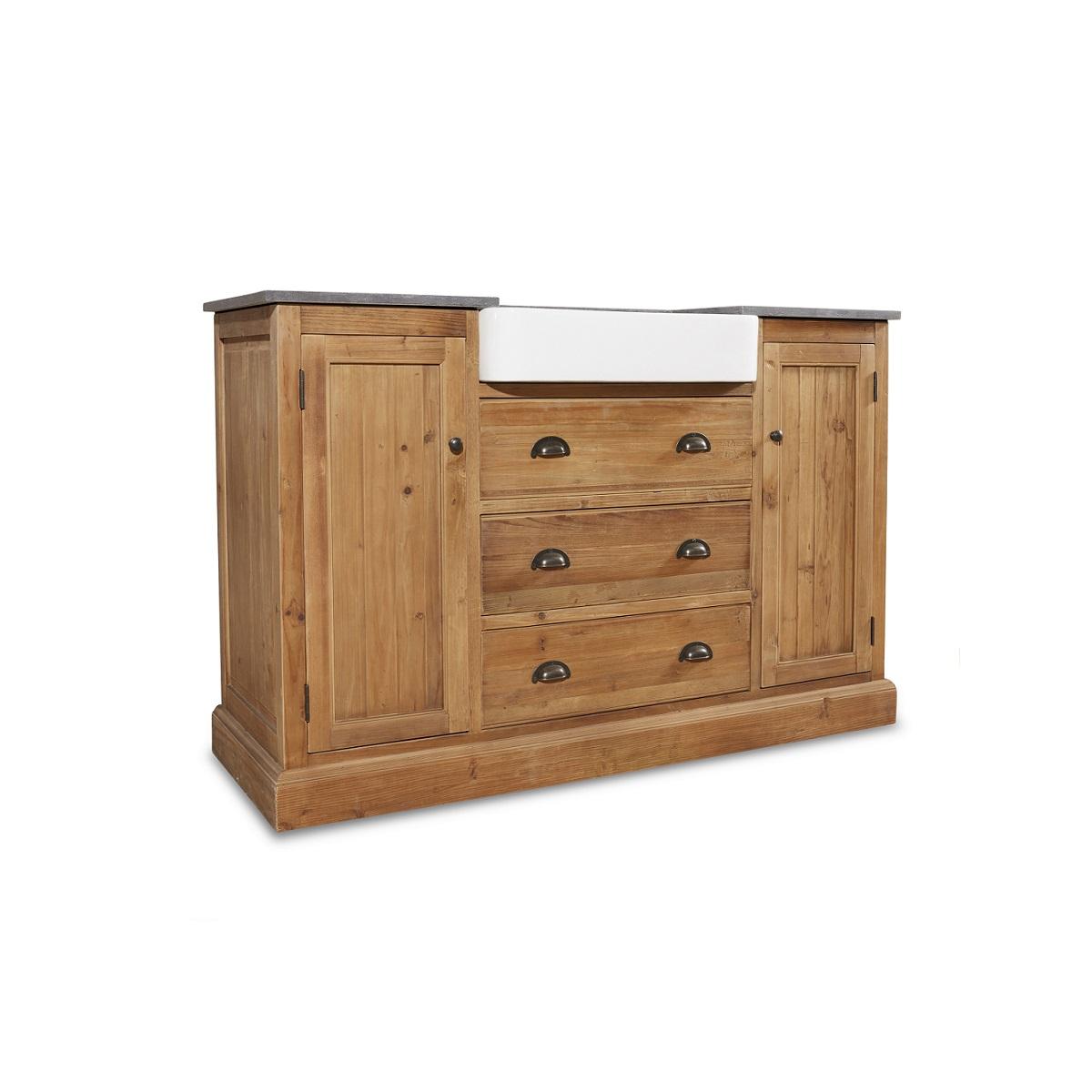 "54"" Handcrafted Reclaimed Pine Solid Wood Single Belgium Sink Bath Vanity"