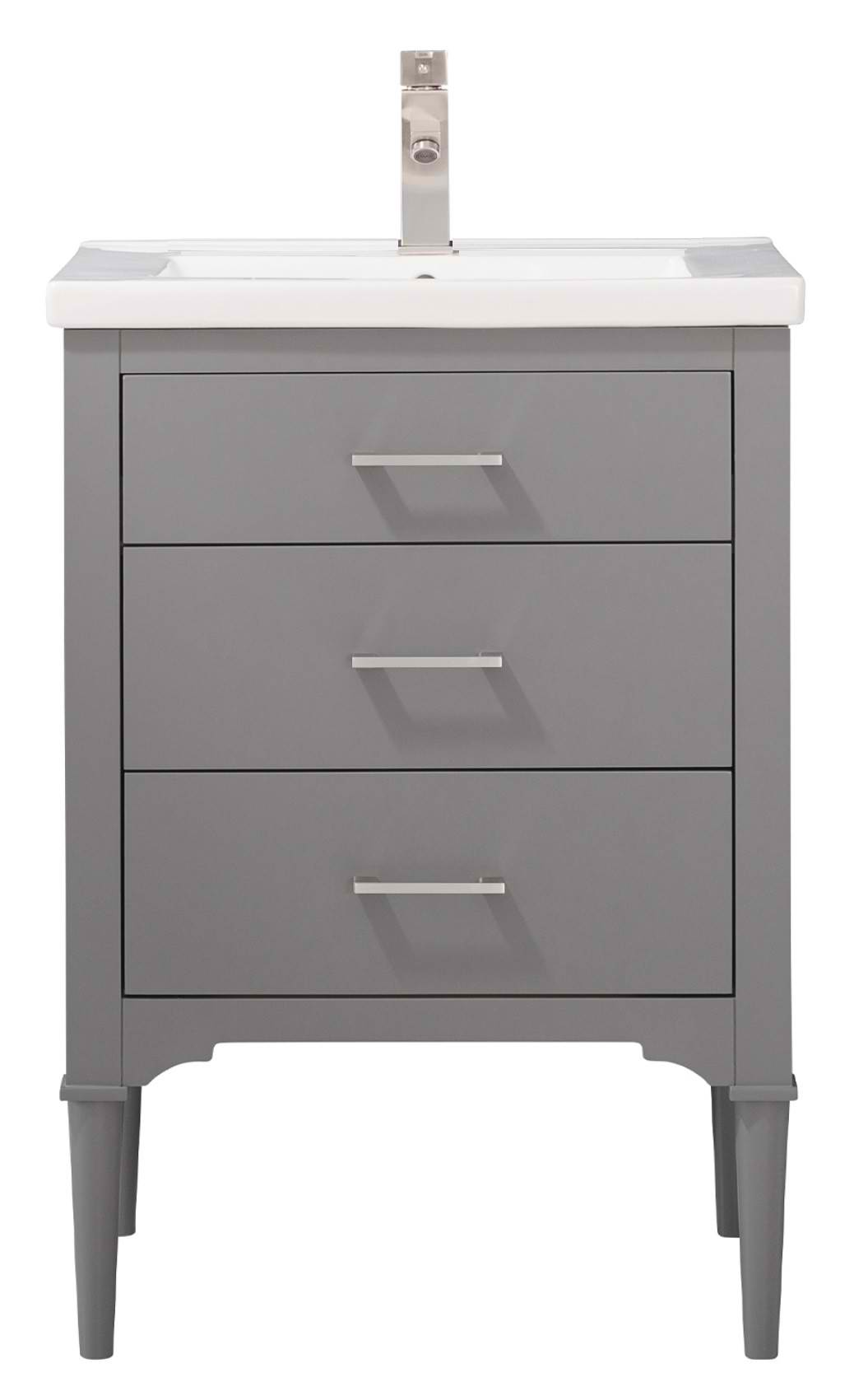 "24"" Transitional Single Sink Vanity with Porcelain Integrated Counterop and Sink in Gray Finish"