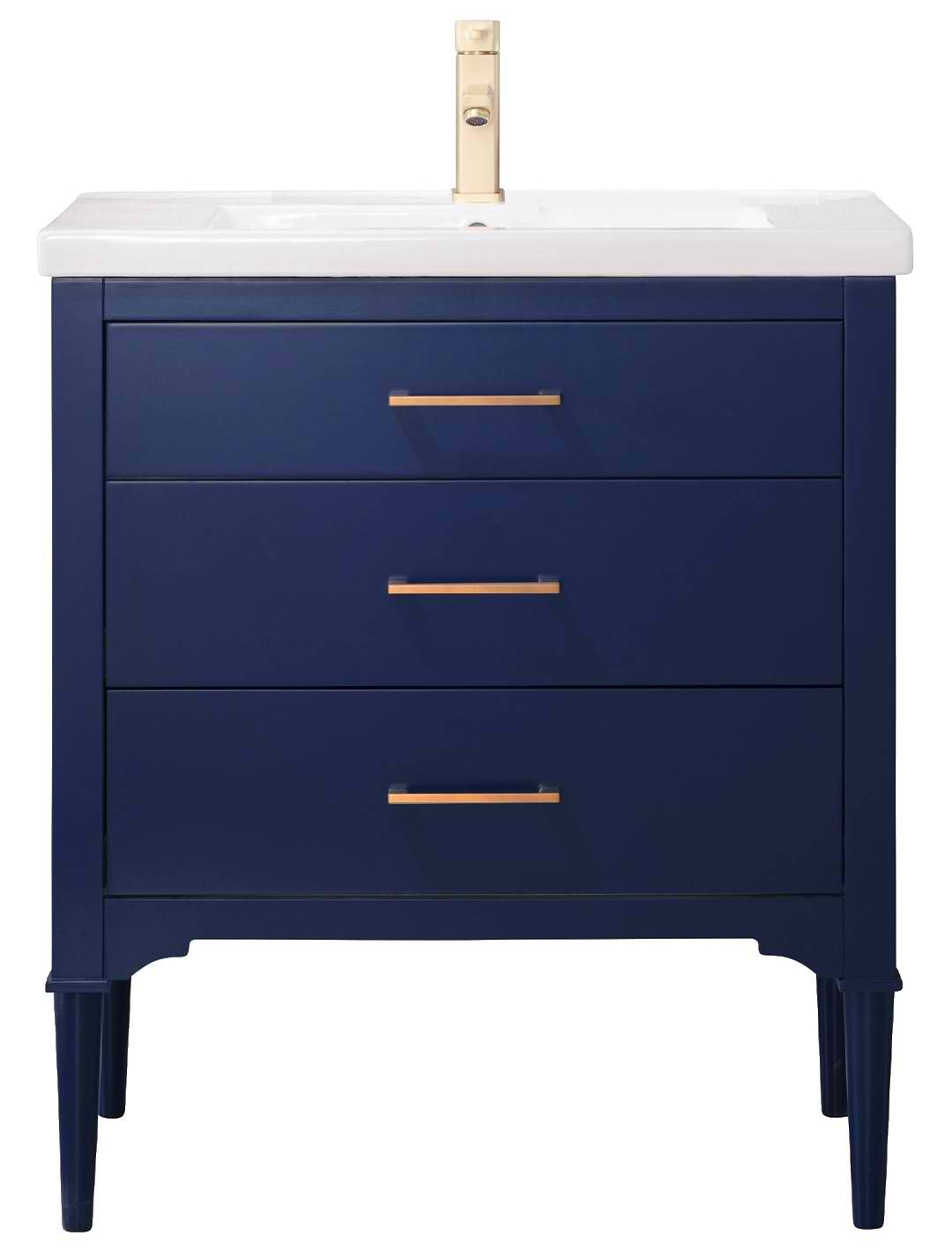 """30"""" Transitional Single Sink Vanity with Porcelain Integrated Counterop and Sink in Blue Finish"""