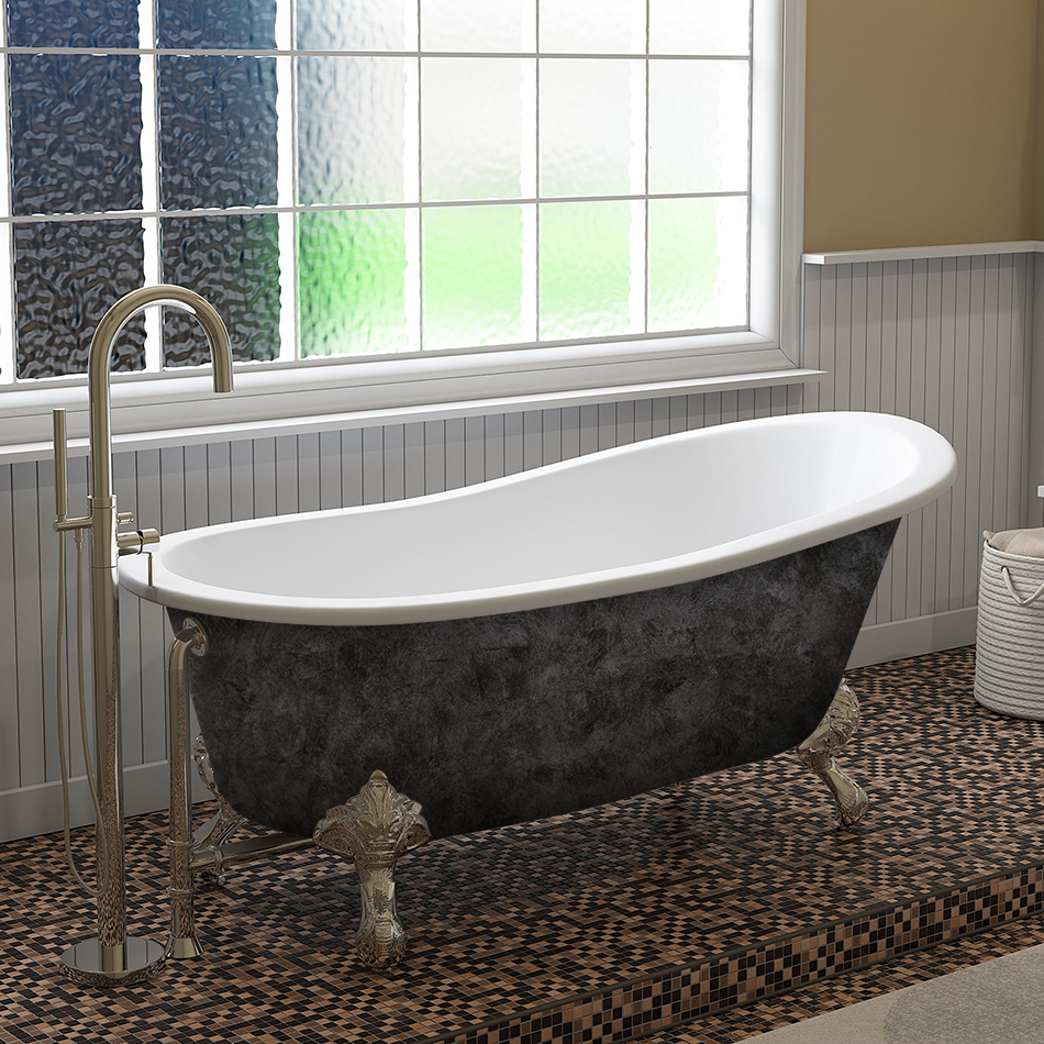 """Cambridge Scorched Platinum 67"""" x 30"""" Cast Iron Slipper Bathtub with No Faucet Holes and Polished Chrome Ball and Claw Feet"""