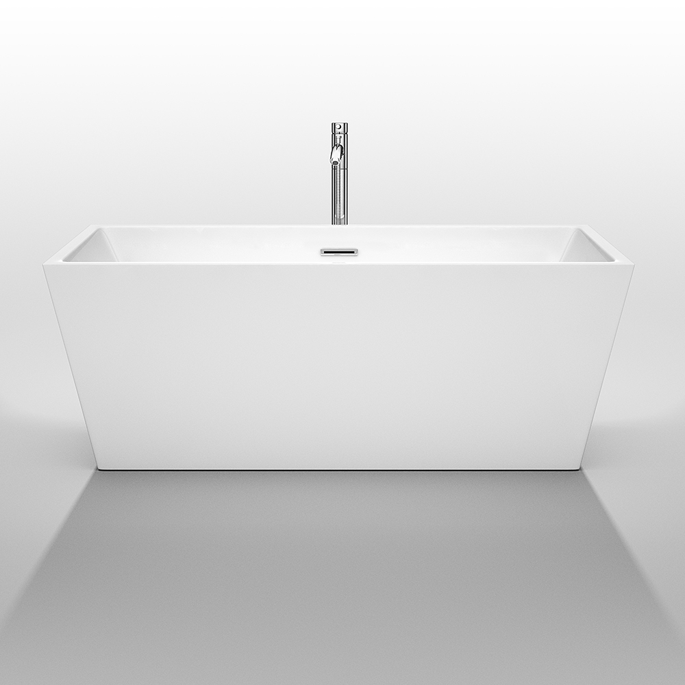 Sara 63 inch acrylic white soaking bathtub by wyndham for Acrylic soaker tub