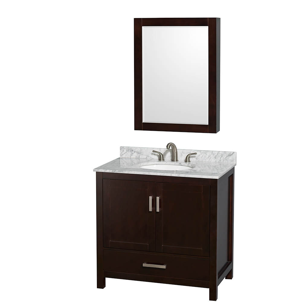 "Sheffield 36"" Single Bathroom Vanity in Espresso with Countertop, Undermount Sink, and Mirror Options"