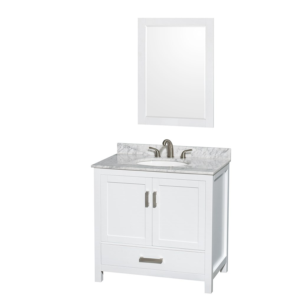 """Sheffield 36"""" Single Bathroom Vanity in White with Countertop, Undermount Sink, and Mirror Options"""