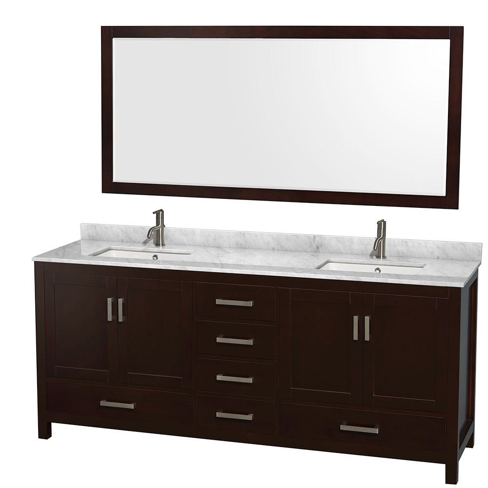 """Sheffield 80"""" Double Bathroom Vanity in Espresso with Countertop, Undermount Sinks, and Mirror Options"""