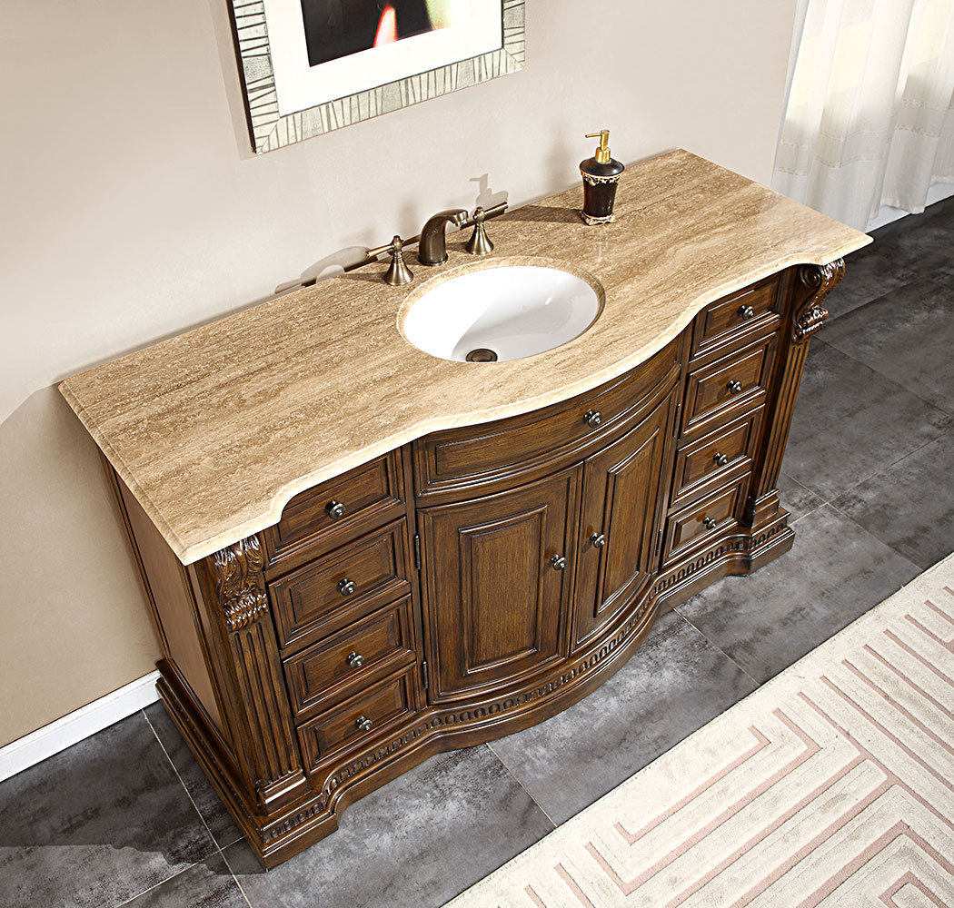 Accord Antique 60 inch Single Sink Bathroom Vanity Chestnut Finish