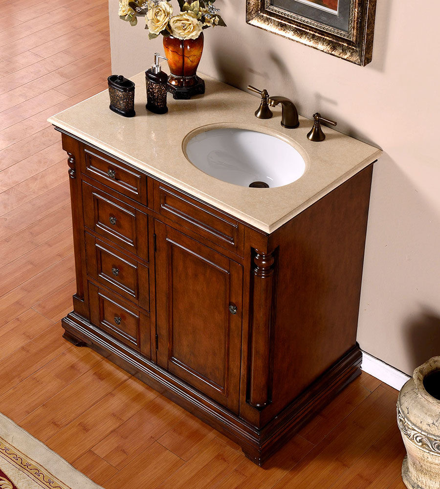 Silkroad 36 inch antique single sink bathroom vanity cream for Bathroom washbasin cabinet