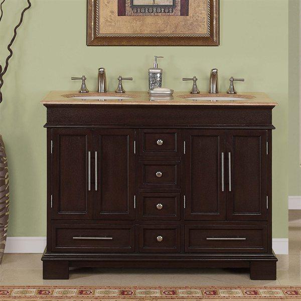 Accord Antique 48 inch Double Sink Bathroom Vanity Travertine Countertop